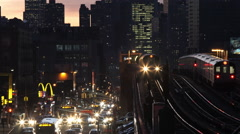 Queens bound 7 train at sunset. Stock Footage