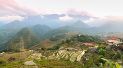 4K Time-lape, Twilight at terraced of Cat Cat Village, Sapa. - stock footage