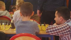 "Children and Their Parents on the Chess Tournament ""black Knight"" Club People Stock Footage"