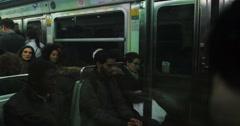 Rush hour inside metro wagon train Stock Footage