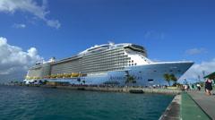 Big cruise ship in port of Nassau - Anthem of the seas, Bahamas Stock Footage