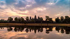 Sunrise time lapse at Angkor Wat Temple , Siem Reap , Cambodia - stock footage