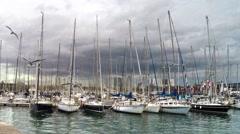 BARCELONA Many yachts lying at Port Vell Stock Footage