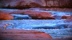 Water running down Slide Rock Stock Footage