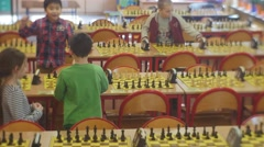 "Boys and Girls Took Places on the Chess Tournament ""black Knight"" Club People Stock Footage"