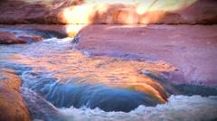 Water Running Down Slide Rock in Sedona Stock Footage