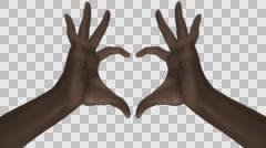 Heart Gesture - Black Male Hands - II - Motion blur - Alpha - 30fps Stock Footage