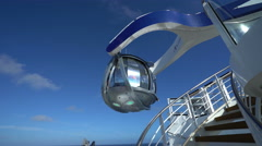 Cruise ship open deck. Lookout capsule. Anthem of the seas, north star look out. Stock Footage
