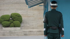 A South Korean soldier standing guard at the border with North Korea - stock footage