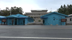 South North Korea border, buffer zone, joint security area Panmunjom, JSA Stock Footage