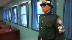 South Korean JSA soldier in UN conference room, North Korea border Stock Footage