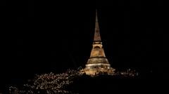 Pagoda On Mountain At Night Stock Footage