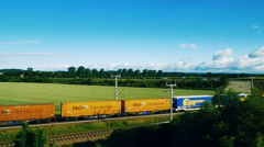 German cargo train seen from above by drone Arkistovideo