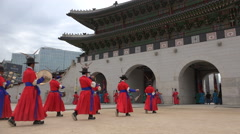South Korea traditional ceremony, cultural show, tourism, royal palace Stock Footage