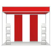 Trade Show Booth Box and Magazine Rack and Roll Up - stock illustration