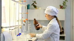 Professional skills contest among chemical analysis technicians - stock footage