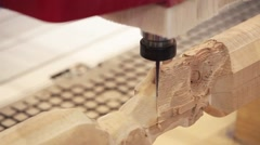 Wood door CNC engraving and cutting machine - stock footage