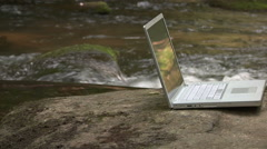 Laptop Computer In Nature Setting Stock Footage