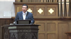 A modern preacher giving a speech in a church in Seoul, South Korea Stock Footage