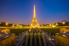 Light up at the Eiffel Tower at night - stock photo