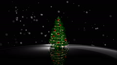 Animated shiny lights on green Christmas tree with snow flowers Stock Footage