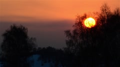 Sunset reddish by the sun above a glacial winter leafless forests Stock Footage
