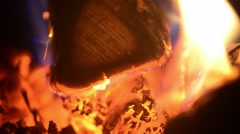 Playful flames that engulfed a woods put in the stove to warm the cold air in Stock Footage