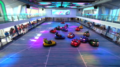 Bumper cars court at amusement park on cruise ship - Anthem of the Seas Stock Footage