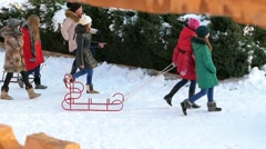 Children are going to sledge. Stock Footage
