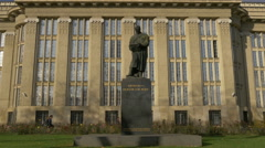 Statue of Frane Bulic in front of Croatian State Archives, Zagreb, Croatia - stock footage