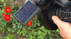 Stock Video Footage of Cameraman press different buttons on the your camcorder to change the working