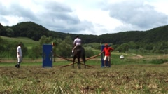 Riding competition attended by several categories of competitors Stock Footage