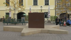 Star monument of European Union Membership on Old Vlaska street, Zagreb - stock footage