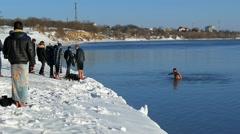 Epiphany .River Danube in Izmail. Ukraine. Stock Footage