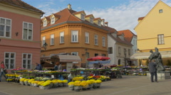 Beautiful view of people selling flowers in Dolac Market, Zagreb Stock Footage