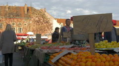 View of fruits at Dolac Market in Zagreb, Croatia Stock Footage