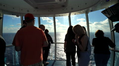 Peoples silhouette in a lookout capsule on cruise ship - Anthem of the Seas - stock footage
