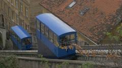 Beautiful view of funiculars in Zagreb, Croatia Stock Footage