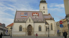 Tilt view of Saint Mark's Church in Zagreb Arkistovideo