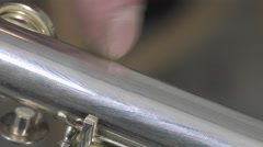 A craftsman recovering blows of a flute Stock Footage