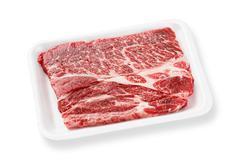 Beef chuck steak on foam tray Stock Photos