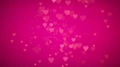 Animated loop able many moving big small pink red hearts Stock Footage