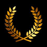Gold Award Laurel Wreath. Winner Leaf label,  Symbol of Victory Stock Illustration