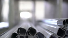Close up of aluminium profiles in factory. 4K Stock Footage