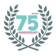 Template Logo 75 Anniversary in Laurel Wreath Vector Illustratio - stock illustration