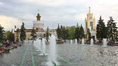 Detailes of fountain Stone Flower, VDNKh, Moscow Stock Footage