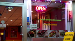 Close up open sign on Lalibela ethiopian restaurant with 4k resolution Stock Footage
