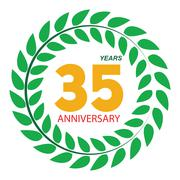 Template Logo 35 Anniversary in Laurel Wreath Vector Illustratio - stock illustration