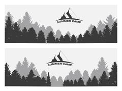 Summer Camp. Image of Nature. Tree Silhouette. Vector Illustrati - stock illustration