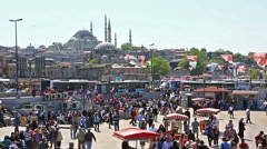 Stock Video Footage of Summer view at Golden Horn quay near The Galata bridge